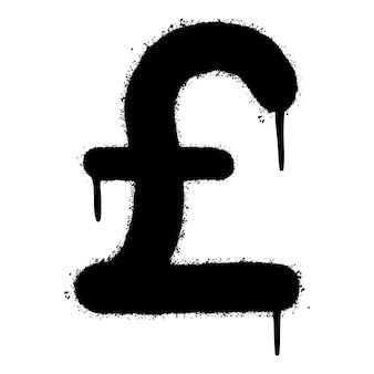 落書きポンド記号は、白い背景で隔離スプレースプレー。通貨アイコン。ベクトルイラスト。