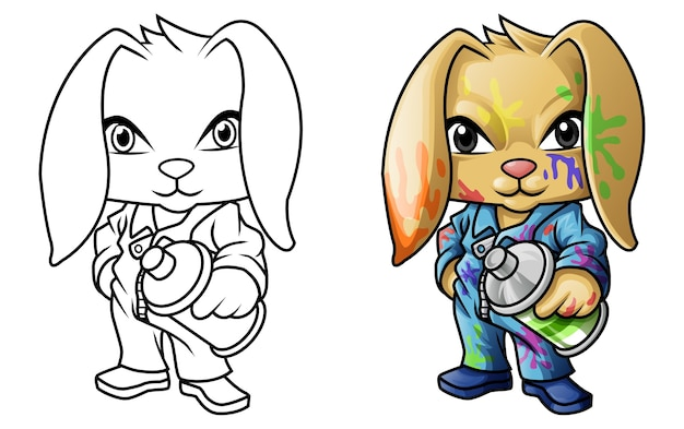 Graffiti rabbit cartoon coloring page for kids
