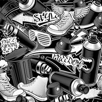Graffiti seamless pattern on dark background. black and white seamless background.