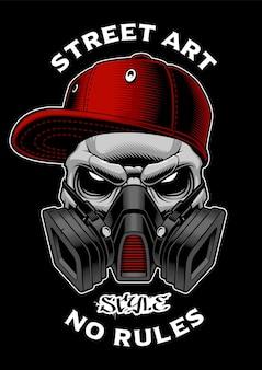 가스 마스크와 낙서 해골입니다. 셔츠 프린트, 스티커 등을위한 디자인.
