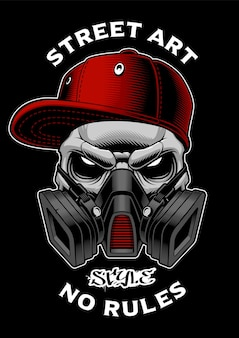 Graffiti skull with gas mask. design for shirt prints, stickers and many other.