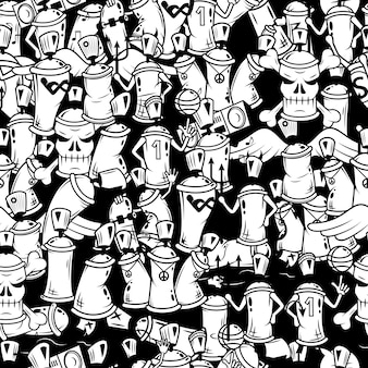 Graffiti spray can characters seamless pattern