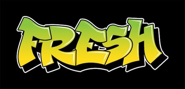 Надпись в стиле граффити «свежий». декоративные надписи.