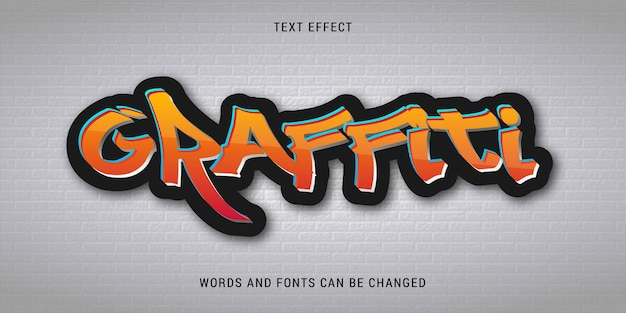 Graffiti text effect isolated on white brick background editable eps cc