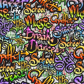Graffiti word seamless pattern