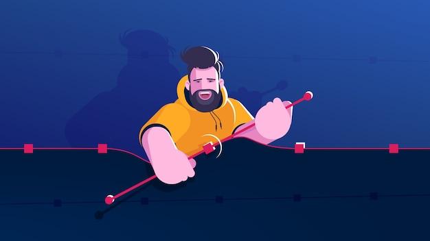 Grafic designer twist an anchor handles on shape. metaphorical illustration of designer character at work. flat design concept.