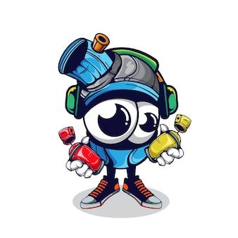 Персонаж grafitti spray can носить наушники иллюстрация