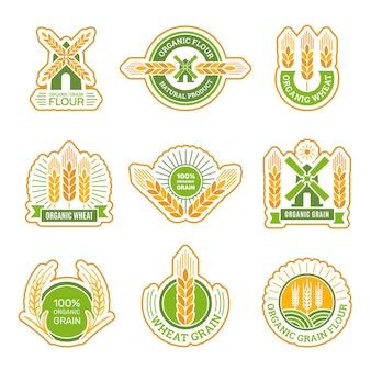 곡물 농장 및 제품 라벨 세트
