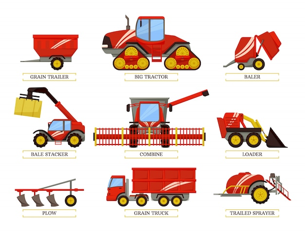 Grain trailer and trailed bale vector illustration