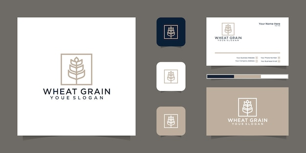 Grain wheat logo line art and business card