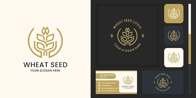 Grain or wheat with abstract hand logo design, and business card design