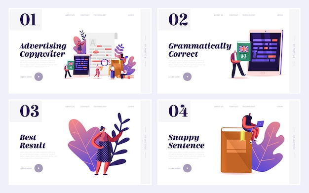 Grammar test examination landing page template set.