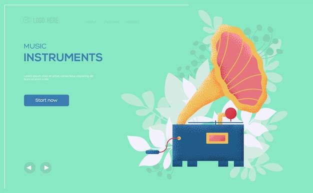 Gramophone concept flyer, web banner, ui header, enter site. .
