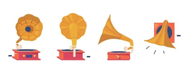 Граммофонный плеер вид спереди, сзади, сбоку и сверху. антикварное оборудование для прослушивания музыки и виниловые диски, изолированный винтажный классический аудио- и аудиоплеер. векторные иллюстрации шаржа, набор иконок