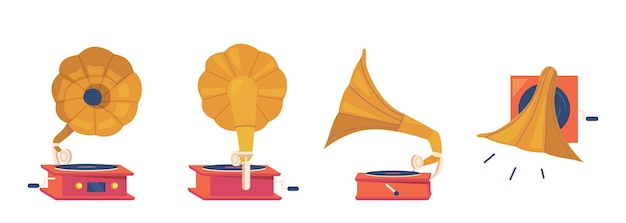 Gramophone player front, back, side and top view. antique equipment for listening music and vinyl disks, isolated vintage classic audio and sound player. cartoon vector illustration, icons set