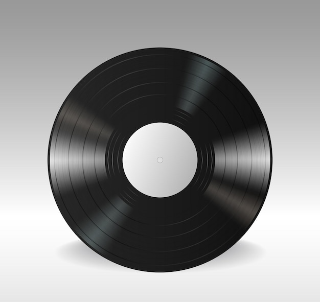 Gramophone vinyl lp record with empty white label. black musical long play album disc isolated on white background. 3d realistic vector illustration
