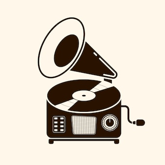 Gramophone vinyl record with label. music collection. old technology, retro sound design. vector illustration