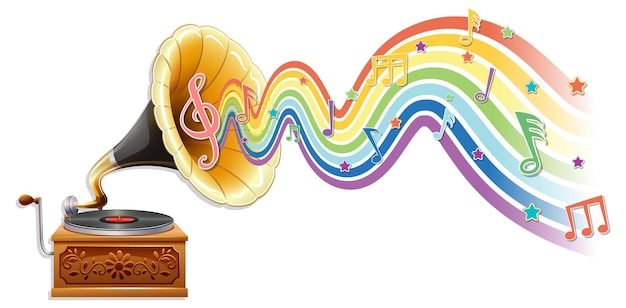 Gramophone with melody symbols on rainbow wave