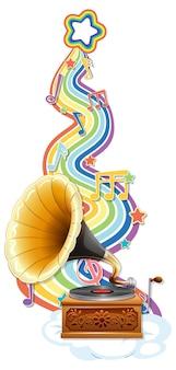 Grammofono con simboli di melodia sull'onda arcobaleno