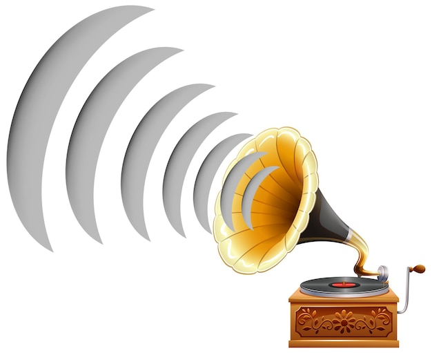 Gramophone with sound wave icon