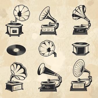 蓄音機コレクション。ヴィンテージラジオ音楽シンボルビニールレコードベクトル画像セット