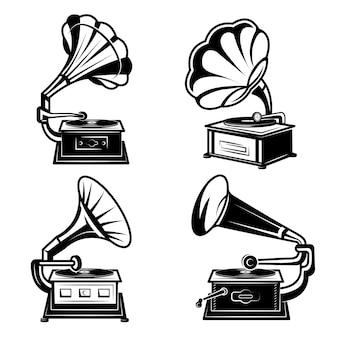 蓄音機。ビニールレコードレトロな蓄音機ボックスソング機器ベクトルモノクロコレクションを持つヴィンテージ音楽プレーヤー。音楽蓄音機の音、レトロな蓄音機のイラスト