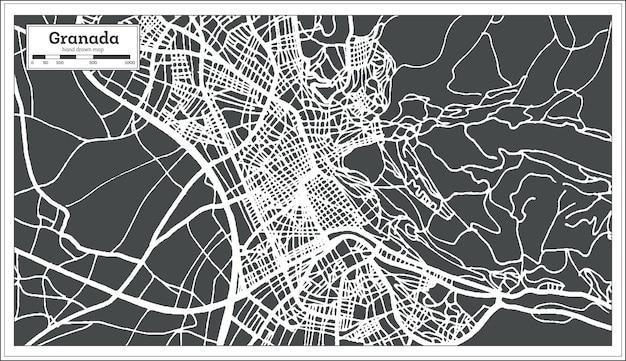 복고 스타일의 그라나다 스페인 도시 지도입니다. 개요 지도. 벡터 일러스트 레이 션.