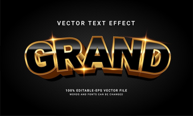 Grand 3d editable text style effect with elegant concept
