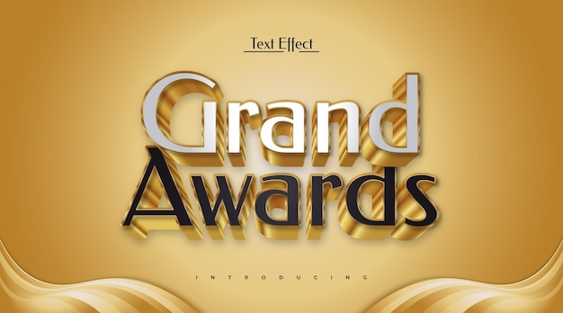 Grand awards editable text effect Premium Vector