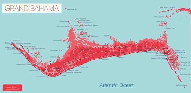 Grand bahama island detailed editable map