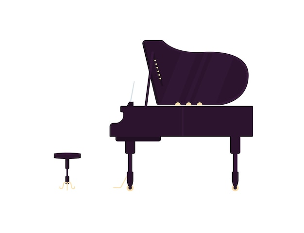 Grand black piano flat color object. antique musical instrument. acoustic concert. classical music performance isolated cartoon illustration for web graphic design and animation