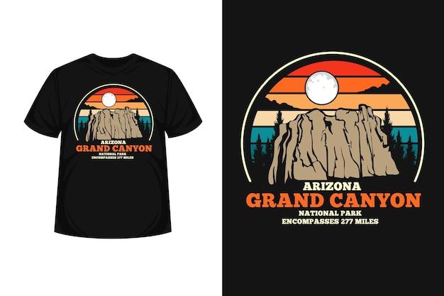 グランドキャニオンアリゾナ商品シルエットtシャツデザイン