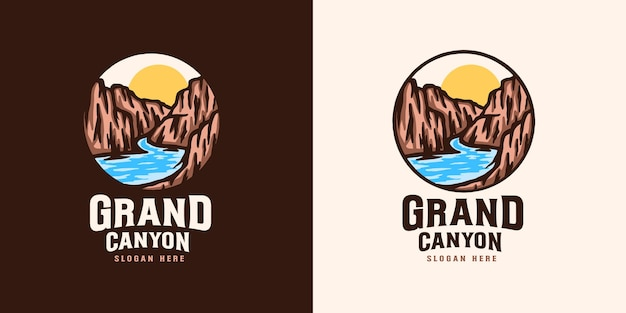 Grand canyon emblem logo template Premium Vector