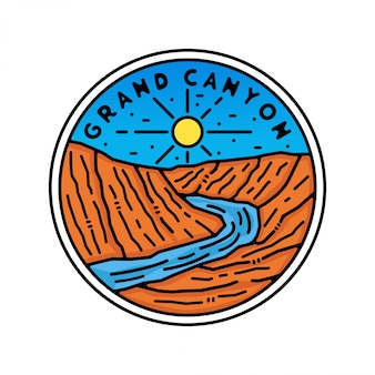 Grand canyon monoline vintage outdoor badge design