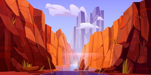 アリゾナ州の公園の底に川があるグランドキャニオン