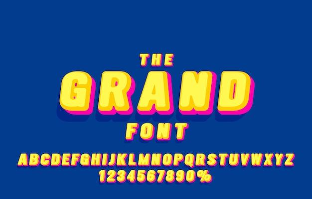 그랜드 글꼴 세트 컬렉션 문자와 숫자 기호 벡터
