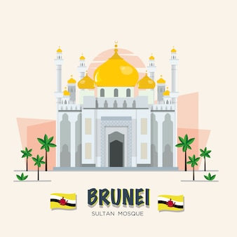 The grand mosque. landmark of brunei. asean set.