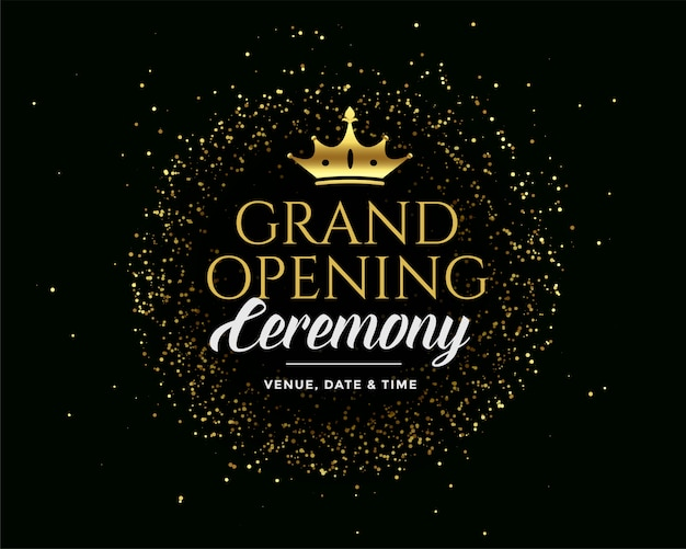 Grand open golden premium dark invitation