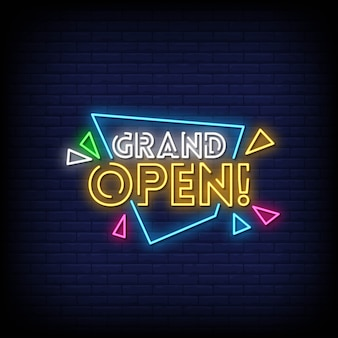Grand open neon signs style text