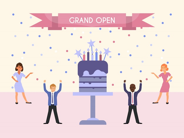 グランドオープンパーティーの人々とケーキ。人々は企業の仕事を祝い、大きなケーキの近くに立っています。イベント組織のビジネスイベント