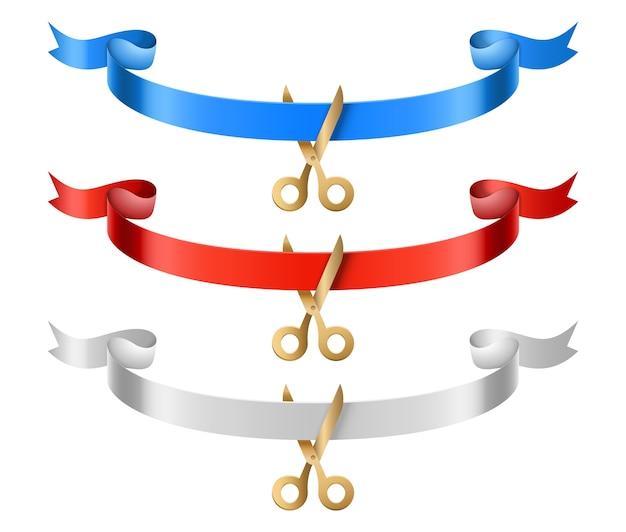 Грандиозные открытые ленты. церемония открытия шелковые ленты с набором ножниц. иллюстрация торжественной церемонии, красный и синий разрез ленты