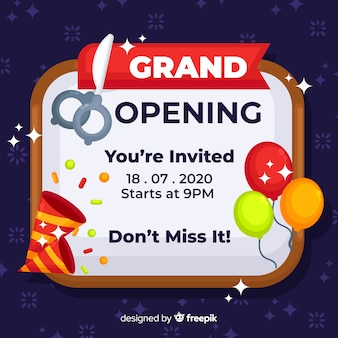 Grand opening background flat design