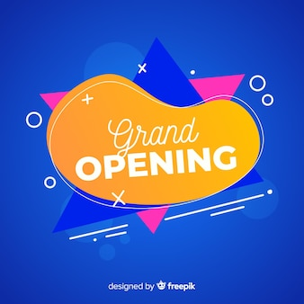 Grand opening background template flat design