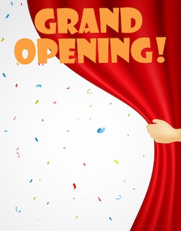 Grand opening background with confetti and red curtain