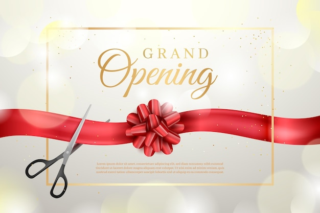 Grand opening background with golden elements Free Vector