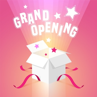 Grand opening   background with open box.