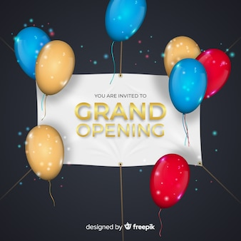 Grand opening background with realistic banner