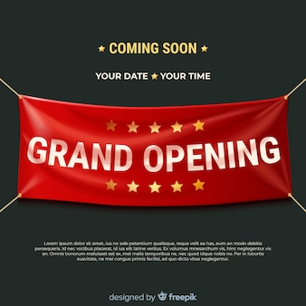 Grand opening background with realistic textile banner