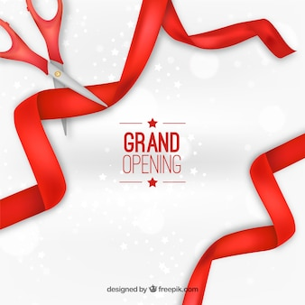 Grand opening background with red ribbons