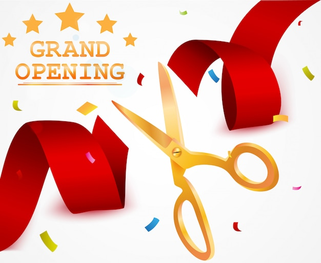 Grand opening background with ribbon and confetti